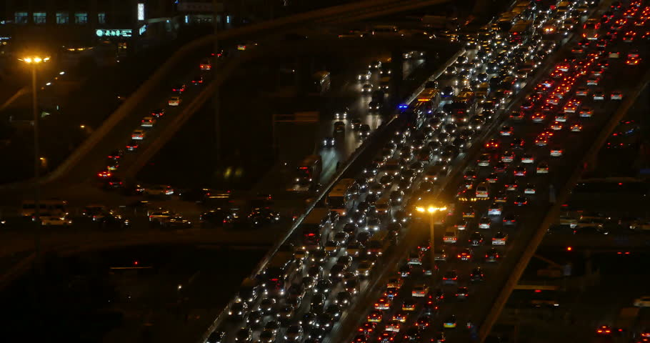 4k,timelapse,Aerial View of heavy traffic through BeiJing central business district at night,It's the main hub for financial and business activities in China's capital city. gh2_11851_4k