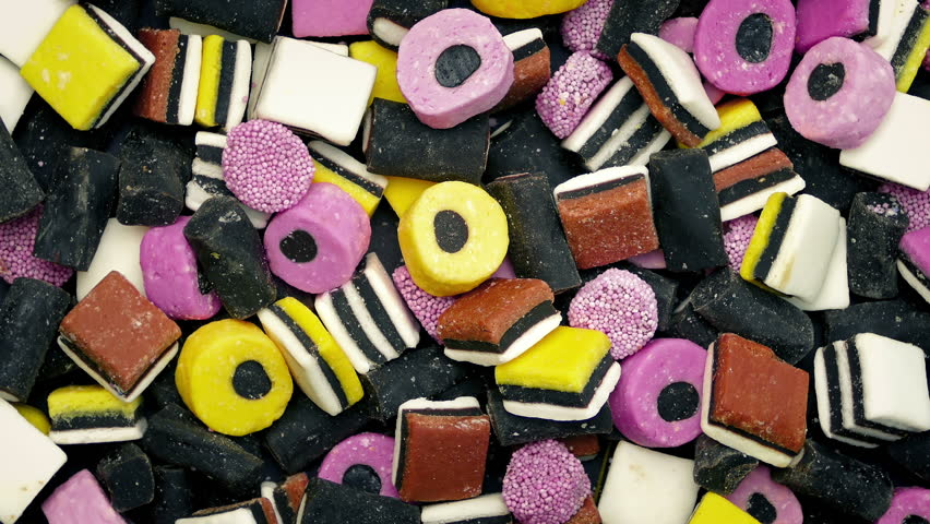 Mixed Licorice Candies Rotating
