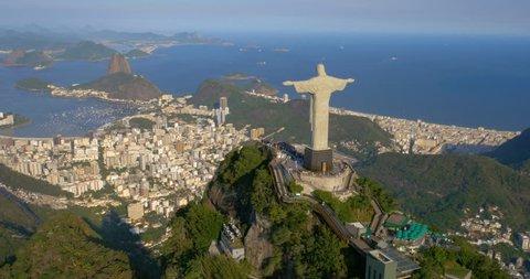 RIO DE JANEIRO, BRAZIL - FEBRUARY 2015: Aerial view of Christ the Redeemer and Botafogo Bay in Rio de Janeiro, Brazil.
