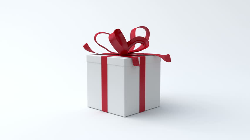 White gift box with red ribbon opening. Include alpha channel and color channel to key individual elements and tracking