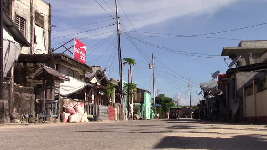 SULANGAN, PHILIPPINES - CIRCA MARCH 2017: a view of a street in the small fishing village of Sulangan, Eastern Samar, Philippines.