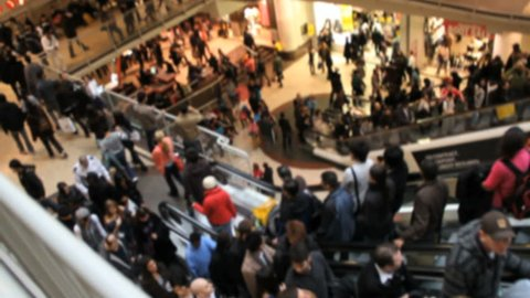 Shoppers at Busy Crowded Mall