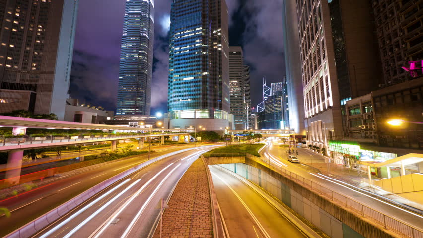 Street traffic in Hong Kong at night, hyperlapse