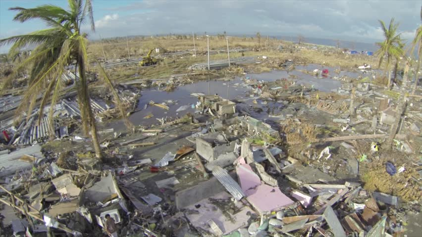 Hurricane typhoon Haiyan aftermath drone at Tacloban | Shutterstock HD Video #28821679