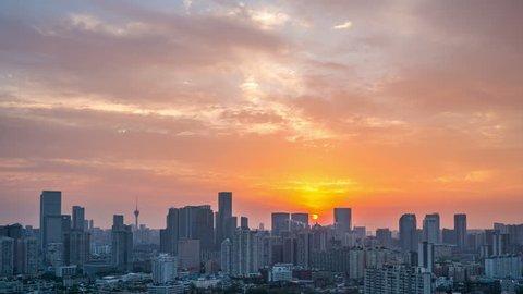 sunrise in chengdu. time lapse