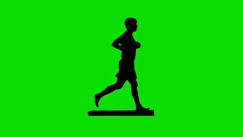 Man running in silhouette against a green screen