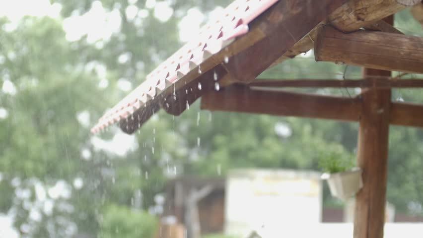 Water Drop Rain Falling From The Straw Roof Raining
