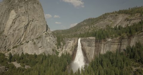 Aerial view of Nevada Fall on the Merced River in Yosemite National Park, California USA