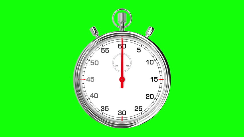 Stopwatch Loop Realtime (Green Screen). Realistic stopwatch animation in seamless loop, realtime speed (full 60 seconds).