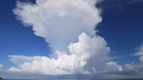 Cumulonimbus cloud. The sky and the sea of Okinawa.