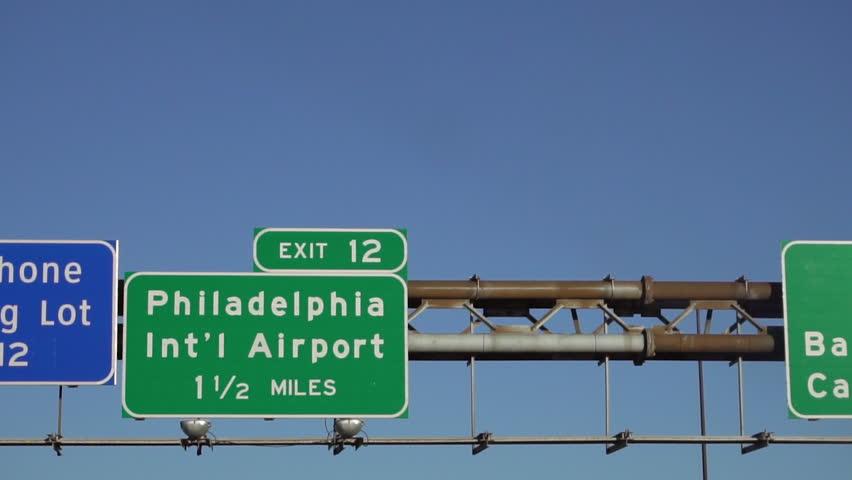 Philadelphia International Airport highway exit sign