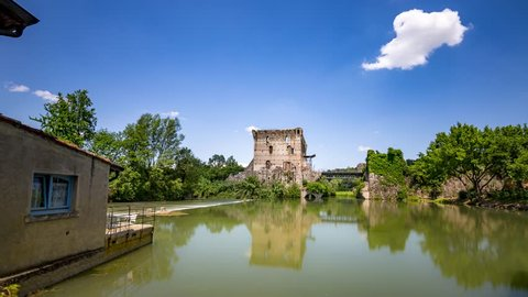 4K Timelapse at Borghetto, reflection on the River, Bridge, Veneto, Italy