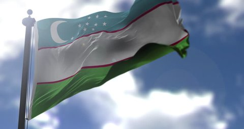 Uzbekistan flag is waving at a beautiful and peaceful sky in day time while sun is shining. 3d rendering.
