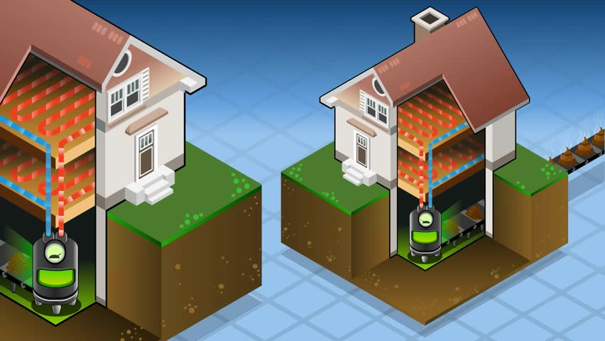 Geothermal Earth Energy Heat Pump Diagram Movie 3d