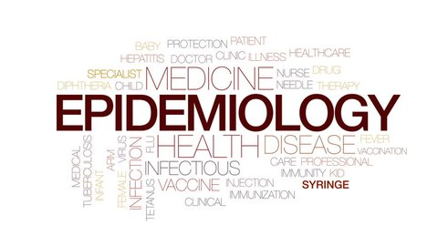 Epidemiology animated word cloud, text design animation. Kinetic typography.