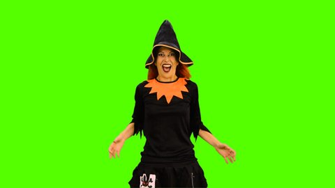 Halloween Witch Flying with Broom Stock Footage Video (100% Royalty ... 236dfe1b0e50