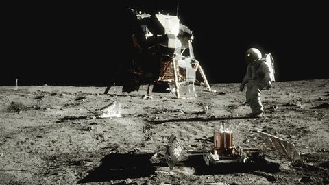 Highly realistic animation of an astronaut walking on the moon. (Graded to look like vintage film with grain, scratches, hair, and flicker)