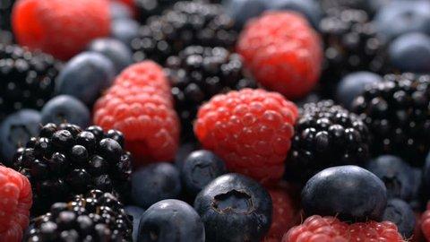Fresh raspberries, blackberries and blueberries