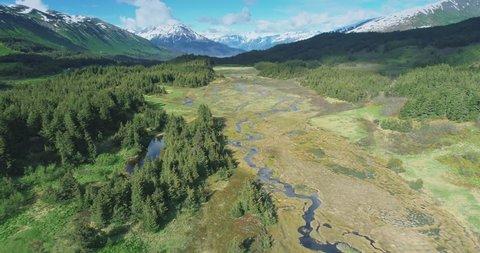 Aerial: flying over grassland, river, trees & mountain near, Chugach Forest, Anchorage, Alaska