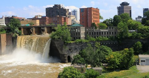 4K UltraHD View of the High Falls in the city of Rochester, New York