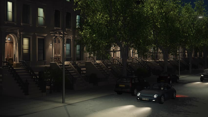 New York City residential area with iconic brownstone buildings, parked and moving cars at night. Tilt up establishing shot realistic 3D animation rendered in 4K