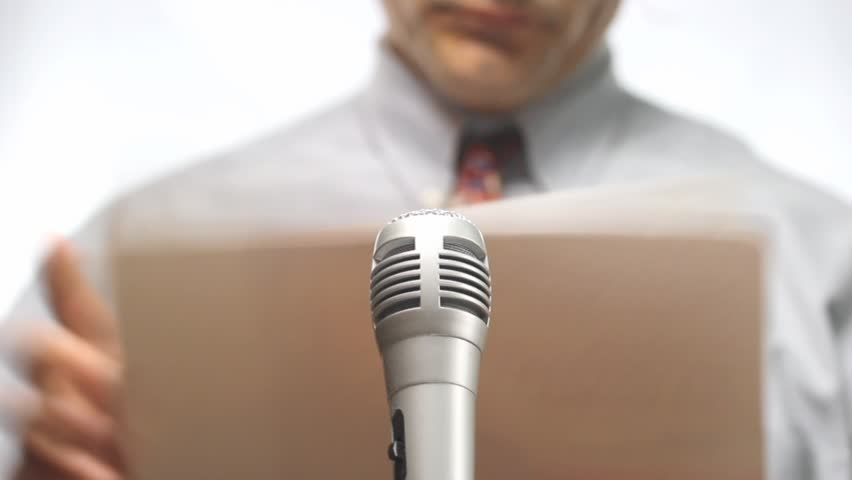 Press conference, microphone and spokesman with nothing to say | Shutterstock HD Video #2902822