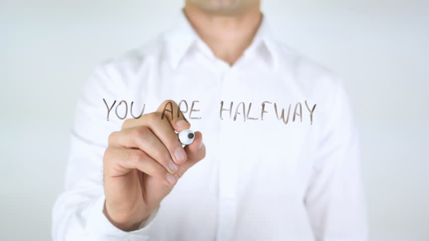 You Are Halfway There, Man Writing on Glass | Shutterstock HD Video #29039119
