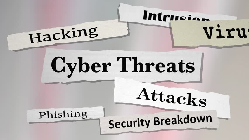 Cyber Threats Attacks Hacking Newspaper Headlines 3d Animation