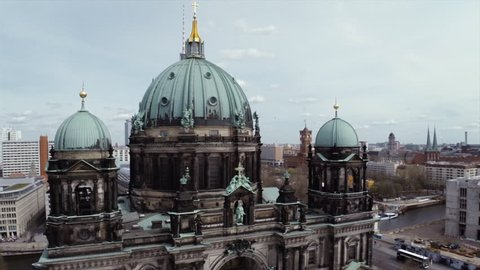 Aerial drone shot of cathedral in Berlin
