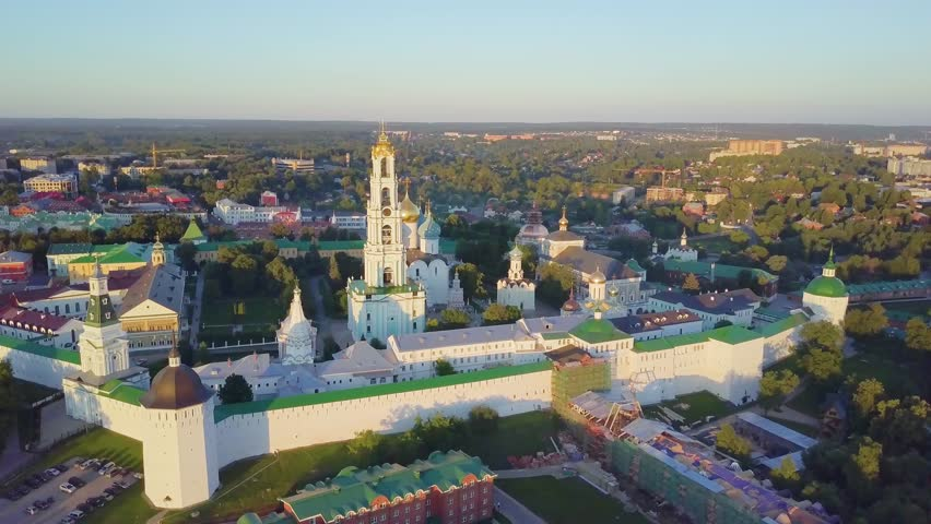 Trinity Lavra of St. Sergius - panoramic aerial view in Sergiev Posad, Moscow oblast,  Russia  | Shutterstock HD Video #29078629