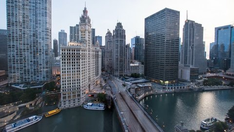 4K Timelapse of Downtown Chicago sunrise night to day