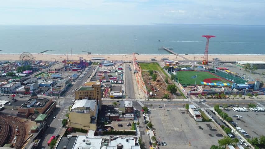 BROOKLYN, NY, USA - JULY 1, 2017: Aerial drone footage of Coney Island and Brighton Beach.