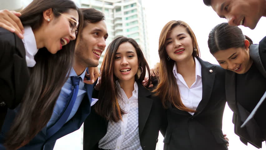 Business, People, Advertisement concept - Victory in business. Jubilant businessman and business team in outdoor meeting. | Shutterstock HD Video #29100859