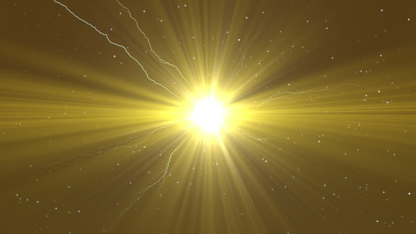 Gold Beam of Light with Lightning Bolts