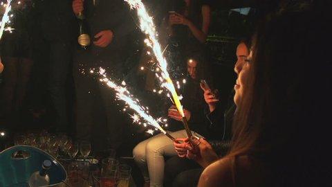 GENEVA, SEPTEMBER 2016 : girls champain slowmotion, party nightclub