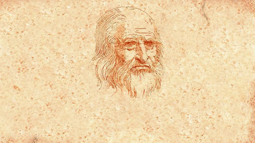Leonardo Da Vinci animated drawing on paper (animation)