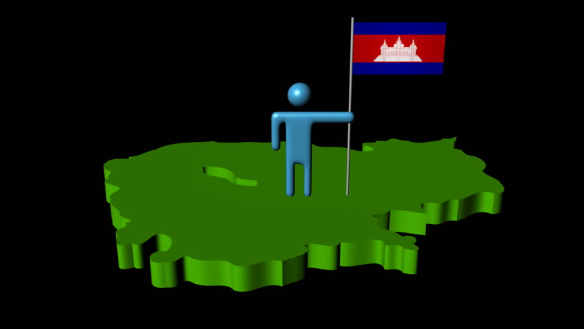 Abstract Man With Fluttering Flag On Kazakhstan Map Animation - Kazakhstan map hd