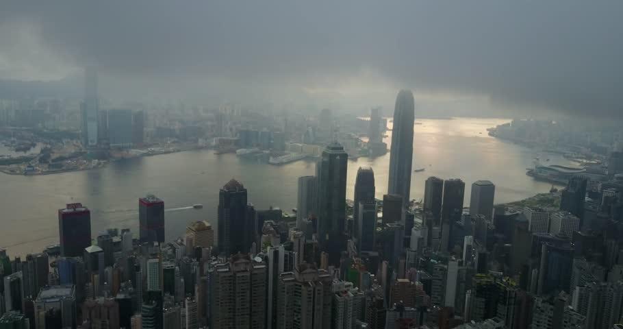 Fly over IFC tower, sky100 Tower Hong Kong City, Hongkong, Hong Kong 4k video aerial