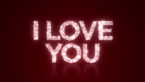"""I LOVE YOU Sparkling Background Loop with Matte/A 12 second looping animation of """"I LOVE YOU"""" over a reflective spot lit background with matte included."""