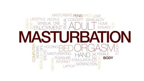 Masturbation animated word cloud, text design animation. Kinetic typography.
