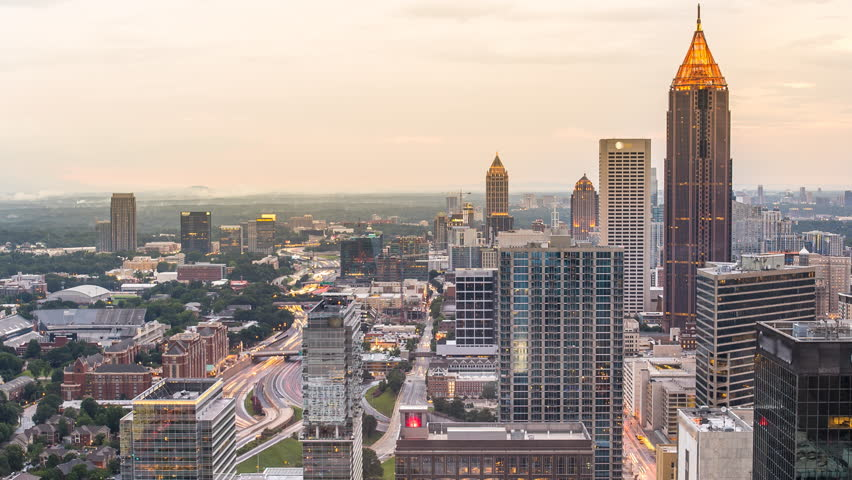 Atlanta sunset time lapse day to night 4k 1080p - day to night time lapse of atlanta georgia skyline