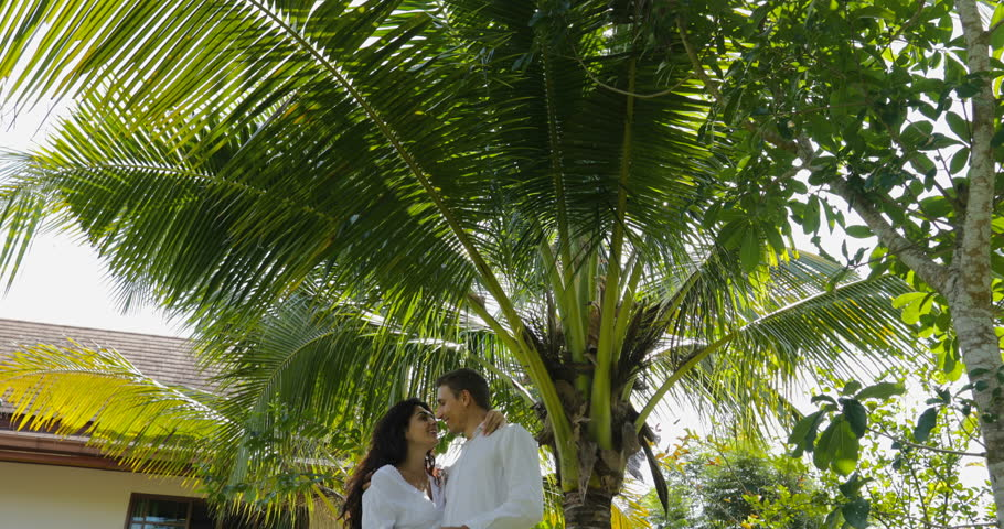 Couple Walking Embracing In Tropical Garden Near Villa House, Happy Man And Woman Outdoors Lovers On Vacation Slow Motion 60 | Shutterstock HD Video #29310979