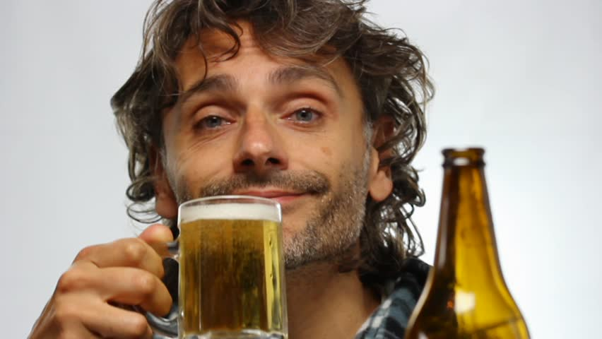Funny Unshaven Man Drinking Beer Stock Footage Video 100 Royalty