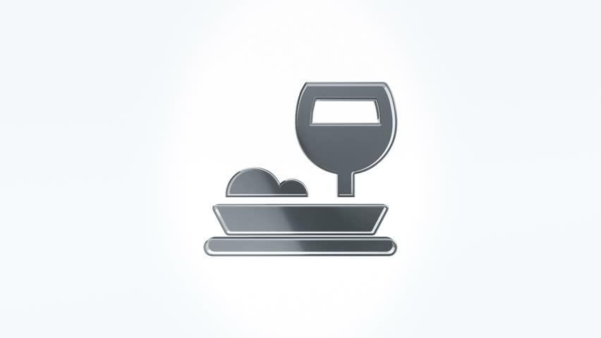 3D Animation rotation of symbol of food, drink, cafe, restaurant, foodstuff and eating from glass. Animation of seamless loop. | Shutterstock HD Video #29386549