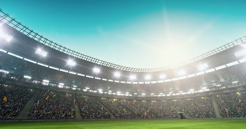 Sport stadium with full of spectators. The stadium was made in 3d without using existing references. The crowd and light on the stadium are animated.