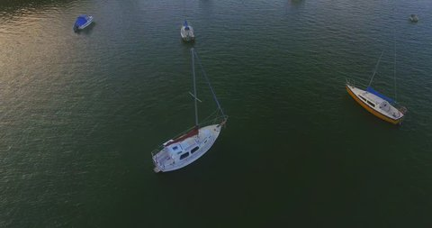 aerial of yatch on the ocean in Pahia, Northland, New Zealand