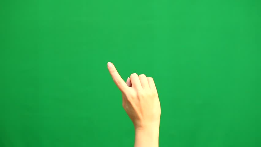 Hand gestures. Touchscreen. Female hand showing multitouch gestures in green screen | Shutterstock HD Video #29453434