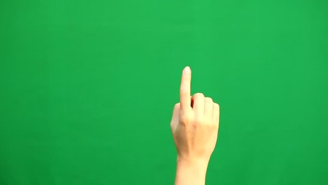 Hand gestures. Touchscreen. Female hand showing multitouch gestures in green screen