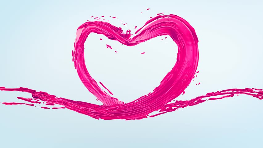 Pink Paint Heart liquid shape wave and splashes, Valentines day, Health Day, 3d rapid animation with alpha channel mask and isolated color key mask for elements
