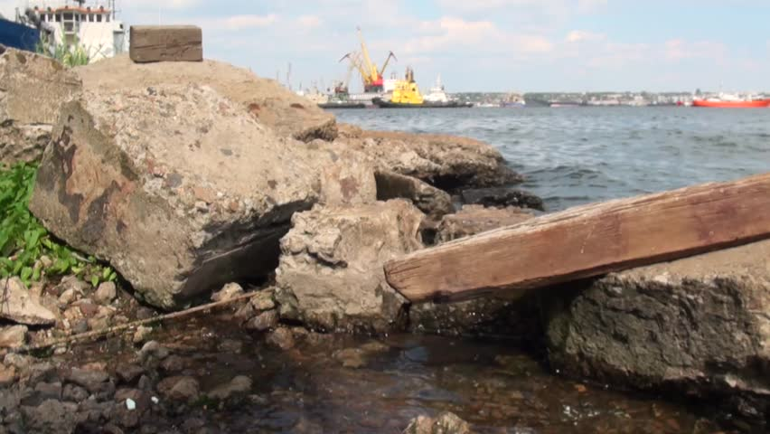 Boulders breakwater in the devastated port in Ukraine